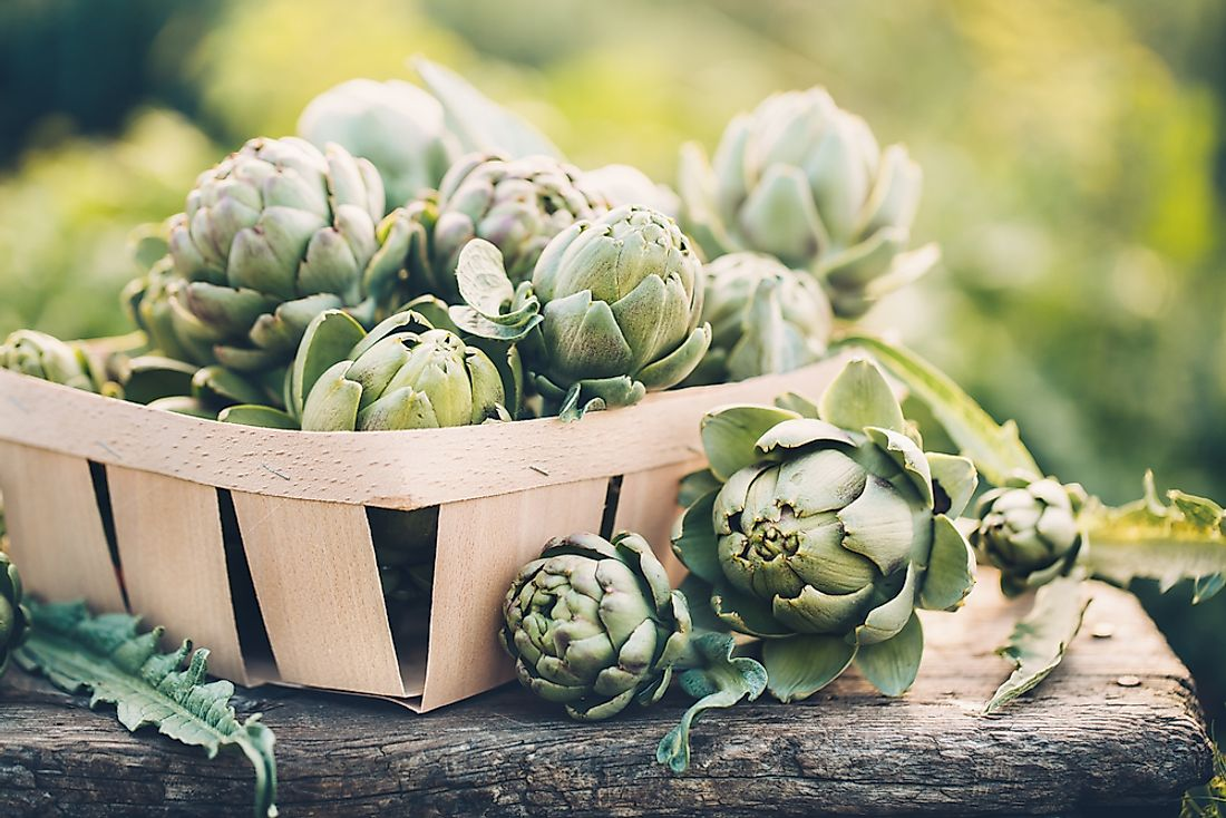 Artichokes on display for sale in the market.