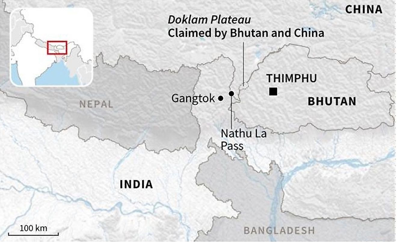 A map showing the position of the Doklam Plateau.