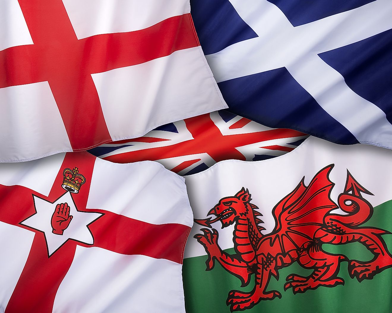 The flags of the United Kingdom of Great Britain - England, Scotland, Wales and Northern Ireland. Image credit: Steve Allen/Shutterstock.com