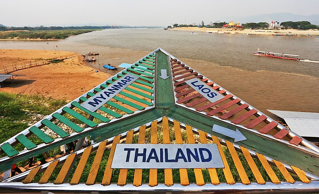 The Golden Triangle showing the borders of Thailand, Myanmar, and Laos.