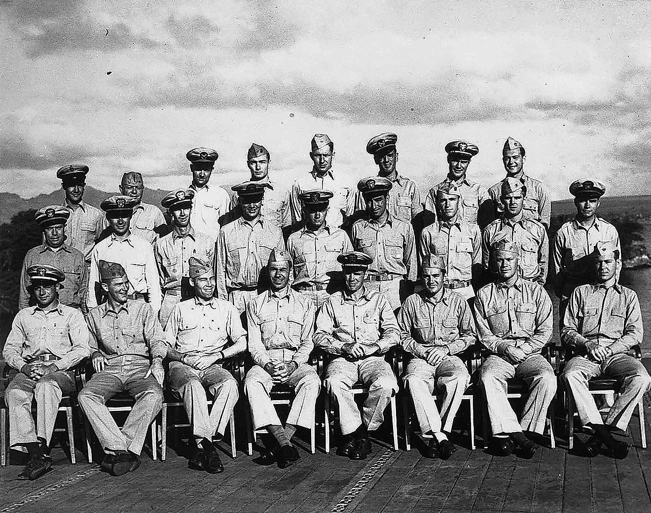 The Gunnery officers of USS Monterey. Ford is second from the right, in the front row. Image credit: US Navy / Public domain