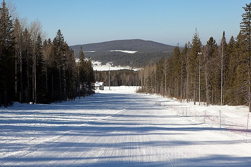 Ural Mountain ski slopes near Nizhny Tagil, Russia.