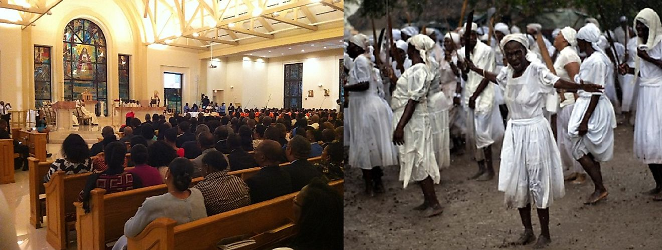 A Roman Catholic Mass (left) and Vodou ceremony (right) in contemporary Haiti.