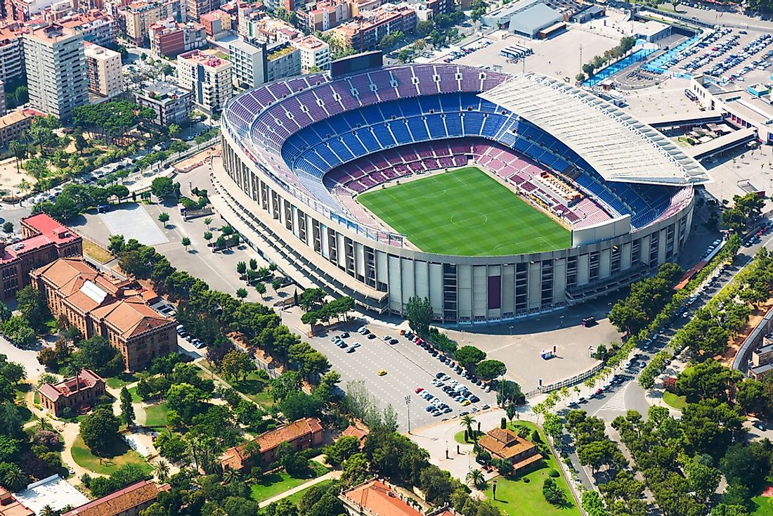 Camp Nou, in Barcelona, is the second largest football (soccer) stadium in the world.