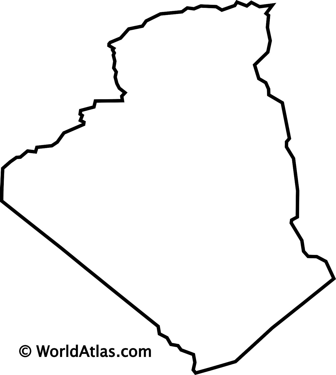 Blank Outline map of Algeria.