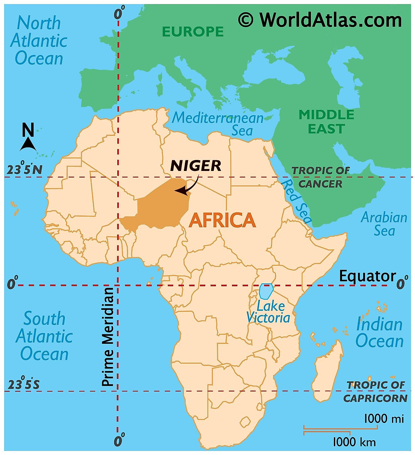 Map showing location of Niger in the world.
