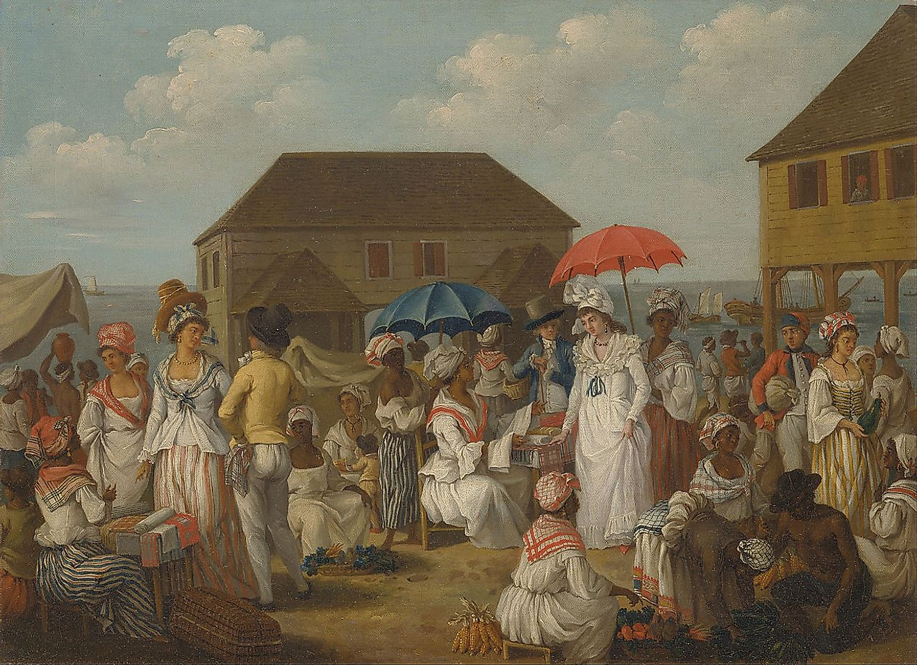 African slaves in a linen market in Dominica. Image credit: Yale Center for British Art/Public domain