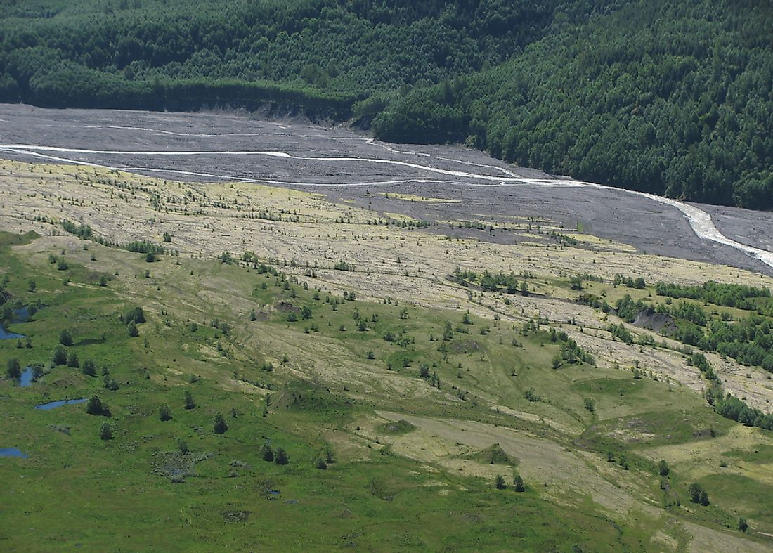 The Toutle River in Washington, USA is an example of a braided river, or channel.