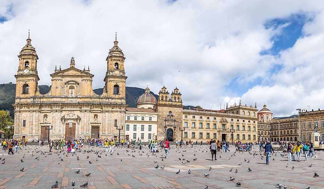 Tourists at Bolivar Square in Bogota, Colombia.