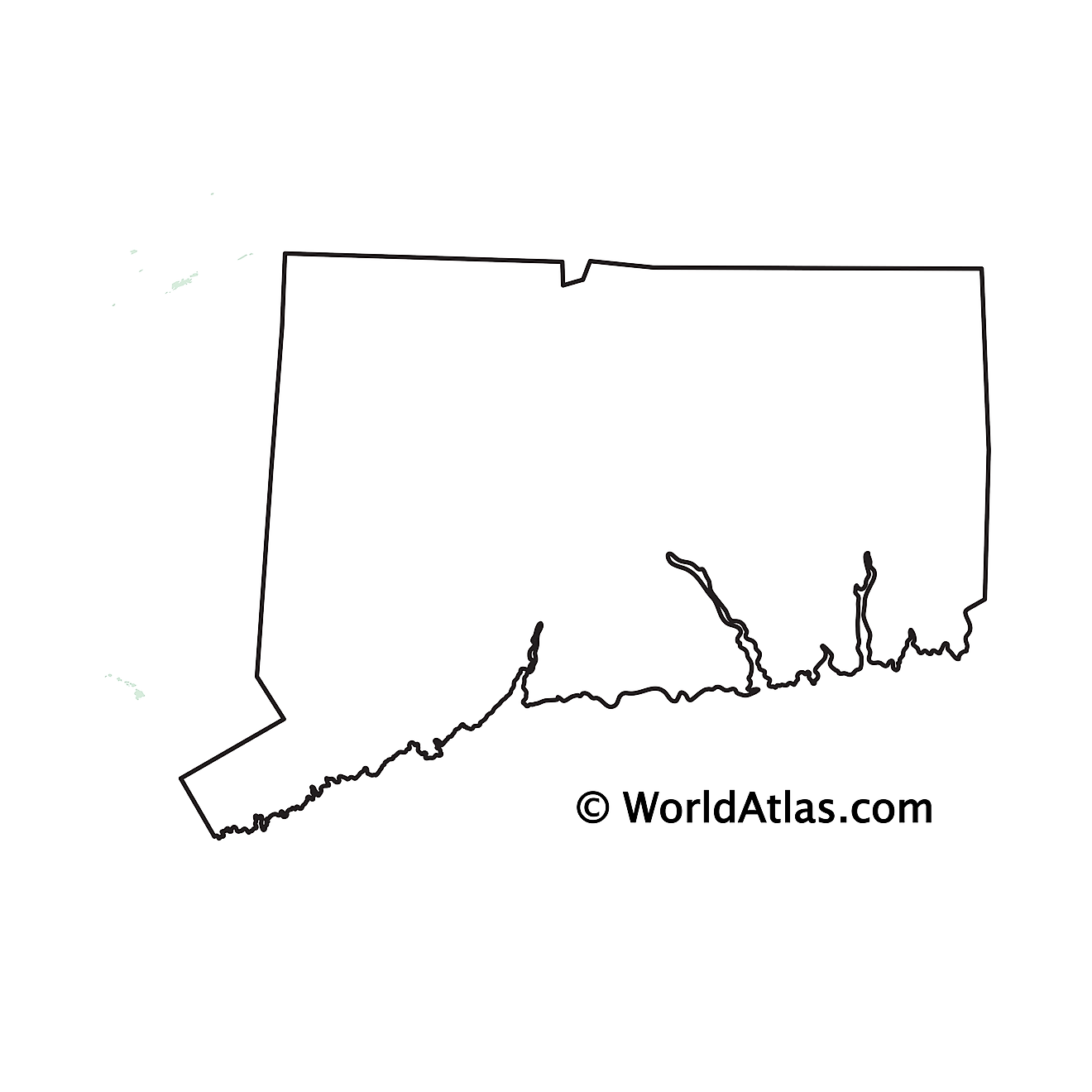 Blank Outline Map of Connecticut
