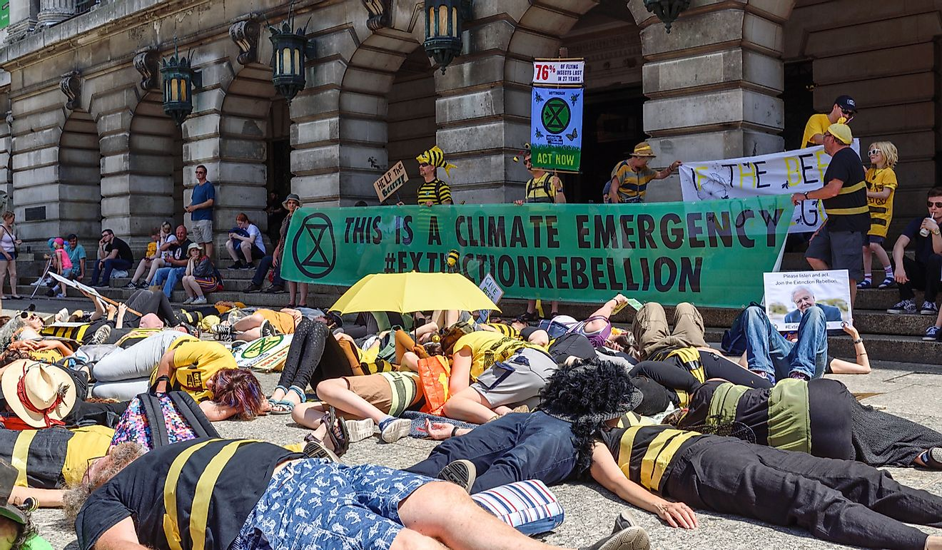 Extinction rebellion staged a Insectageddon Die-in to highlight the plight of the Honey Bee and the effects of global warming.