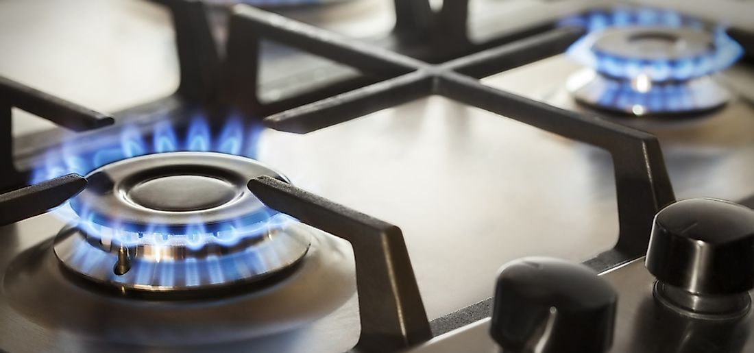 Gas ovens use natural gas as a source of heat.