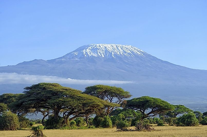 Mount Kilimanjaro, viewed from the grasslands at its base.