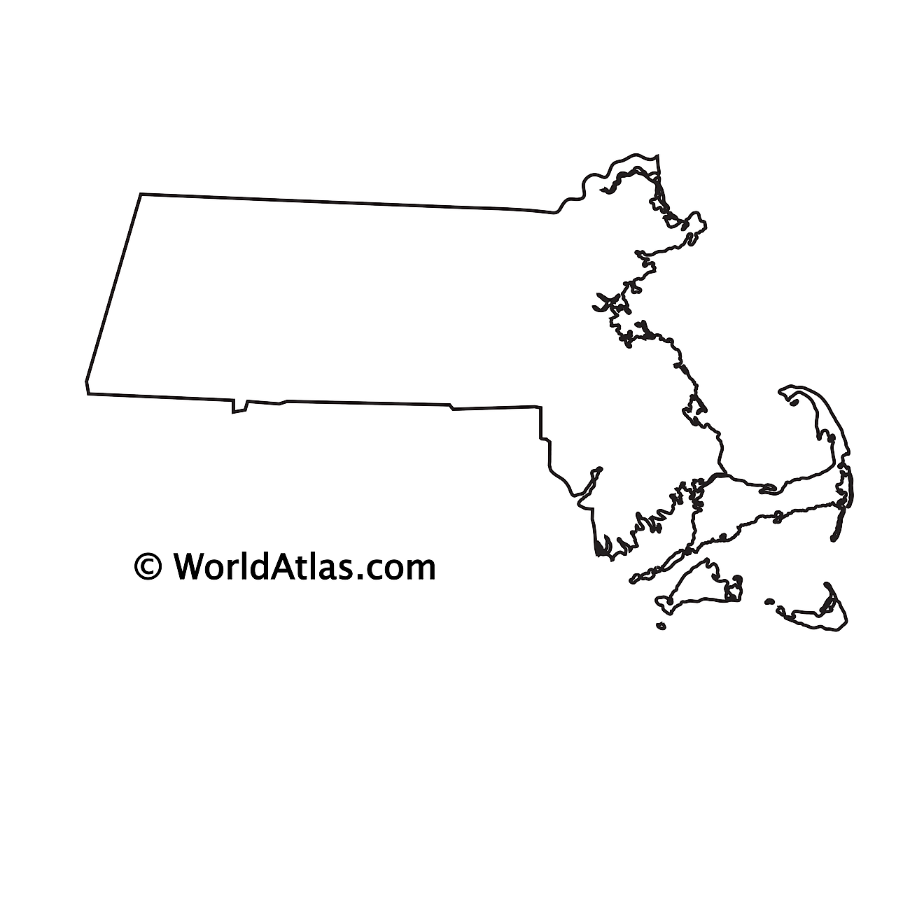 Blank outline map of Massachusetts