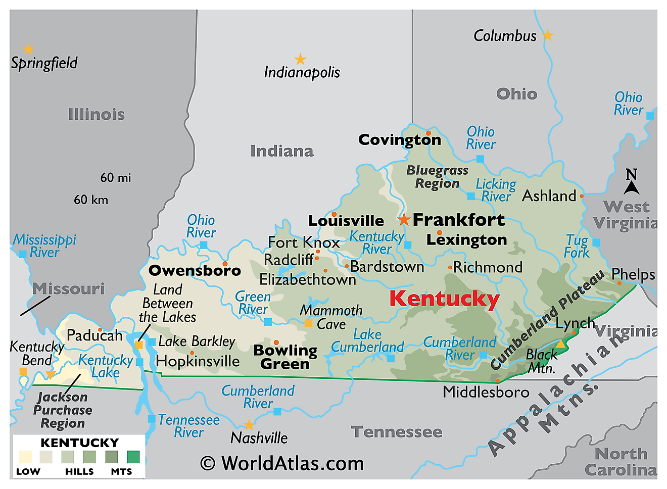 Physical Map of Kentucky. It shows the physical features of Kentucky including its mountain ranges, rivers and major lakes.