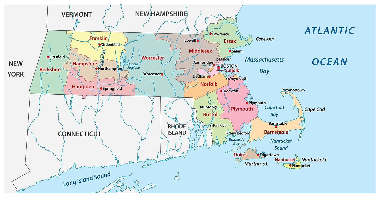 Administrative Map of Massachusetts showing its 14 counties and the capital city - Boston