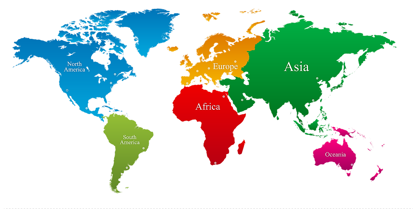 The 6 continents of the world. The 7th continent of Antarctica is not divided into any countries.
