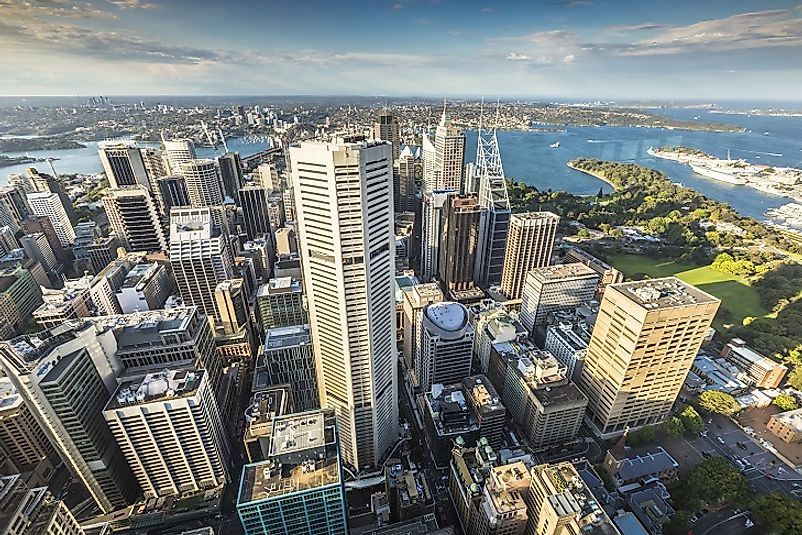 The modern city of Sydney as seen from above.