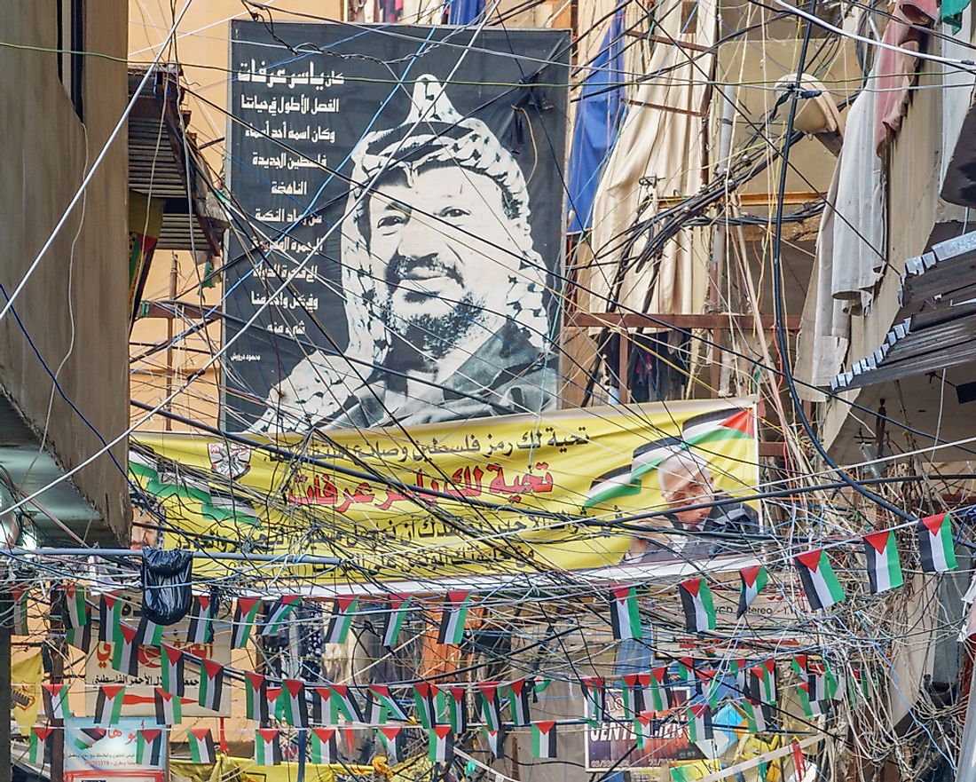 A portrait of Yasser Arafat in Beirut. Editorial credit: Catay / Shutterstock.com.
