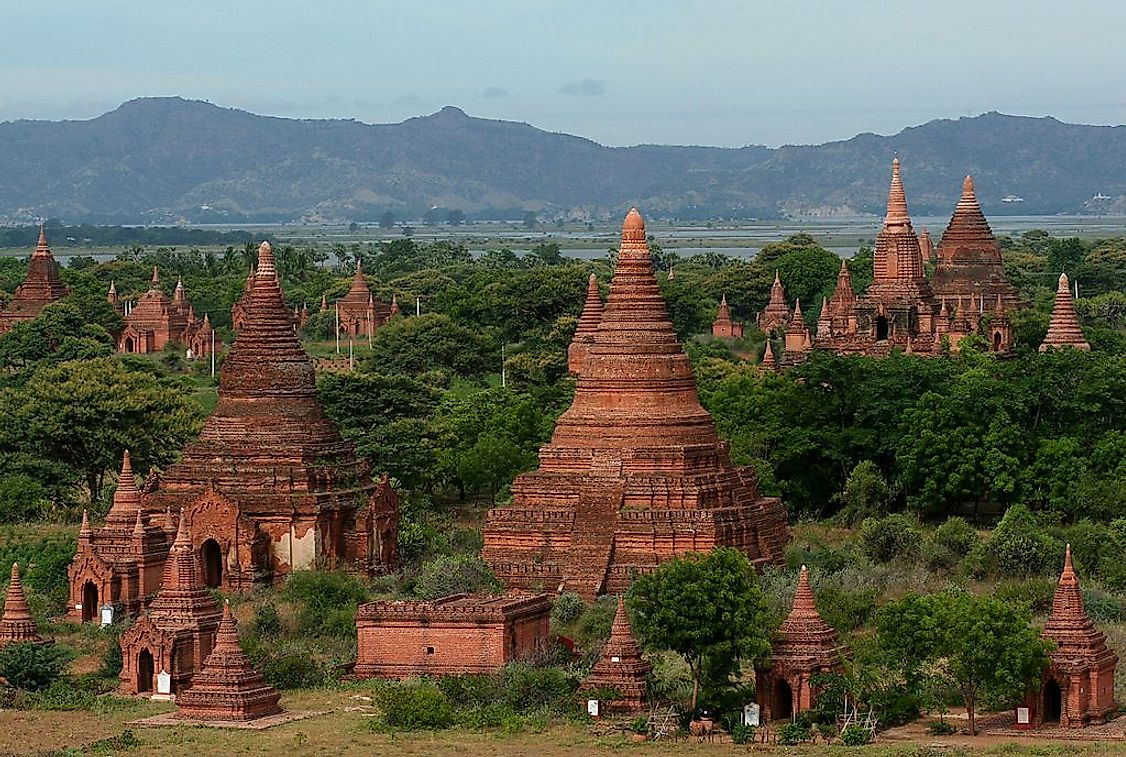 The landscape of the temples of Bagan heritage site in Myanmar.