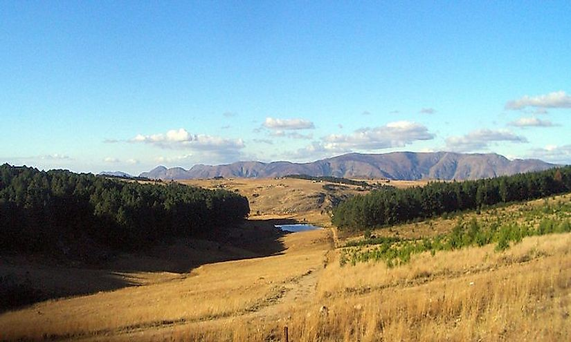 The landscape of Swaziland, a nation of highlands and velds.
