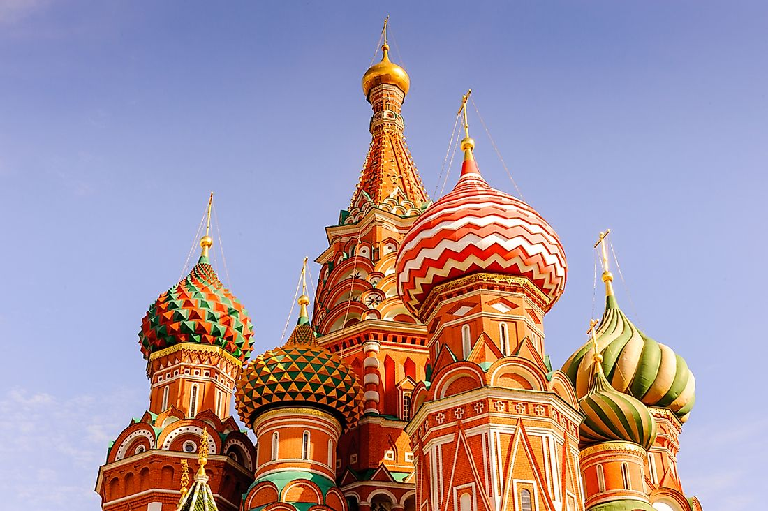 St. Basil's Cathedral is one of the most prominent tourist attractions in Russia.