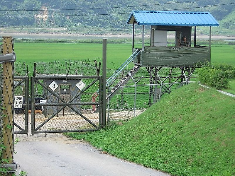 A South Korean guard stationed along the Korean Demilitarized Zone (DMZ). Despite the name, this border area between North and South Korea is highly volatile.