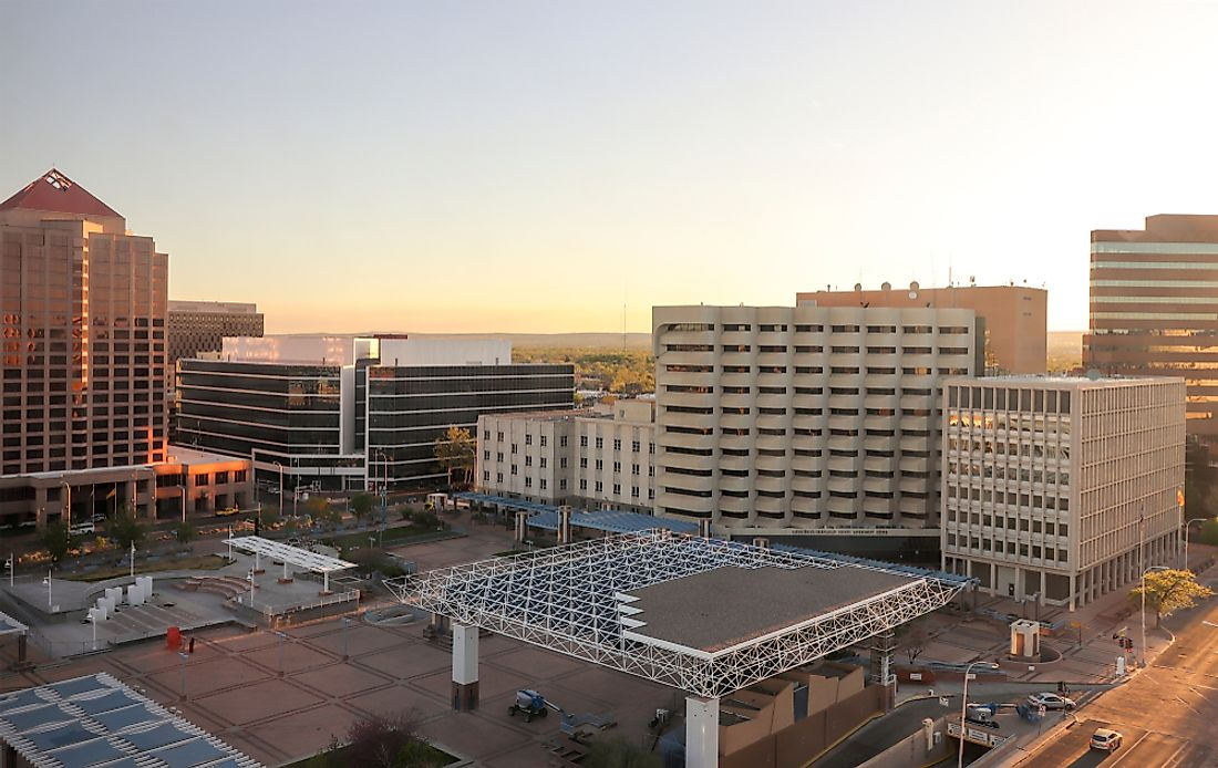 The skyline of downtown Albuquerque.