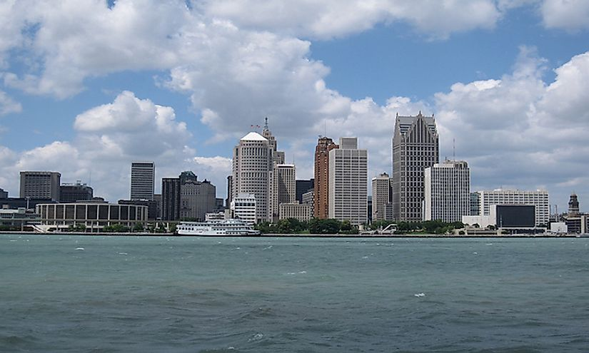 The skyline of Detroit, the biggest city in Michigan