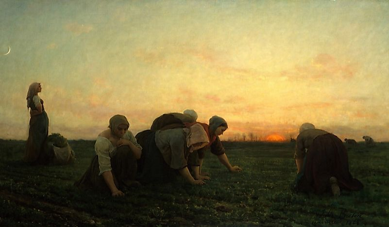 """The Weeders"", by Jules Breton, was a departure from the artist's tradition of depicting historical scenes."