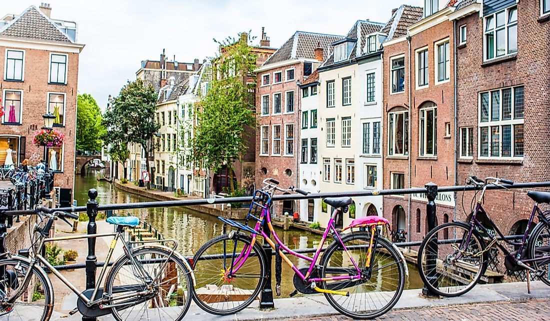 Bicycles lining a street over the canal in Utrecht, Netherlands. Editorial credit: Stephan Schlachter / Shutterstock.com