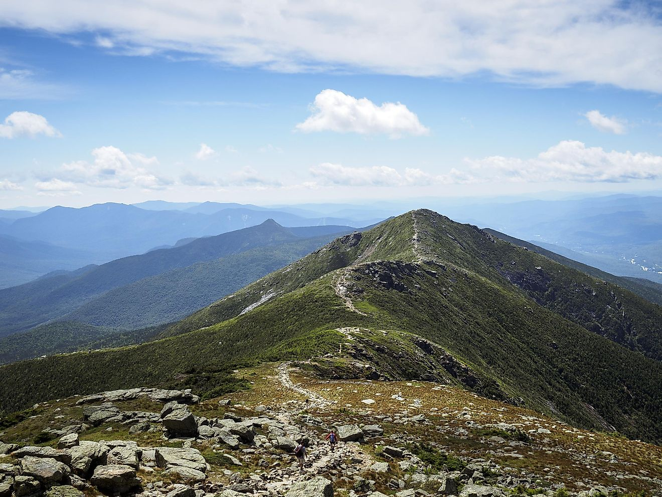Appalachian Trail on a sunny day in White Mountains Franconia Ridge, New Hampshire
