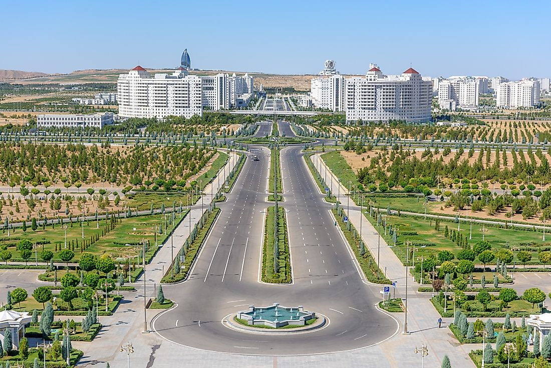 A view of ​Ashgabat​​ from the north towards the city center.