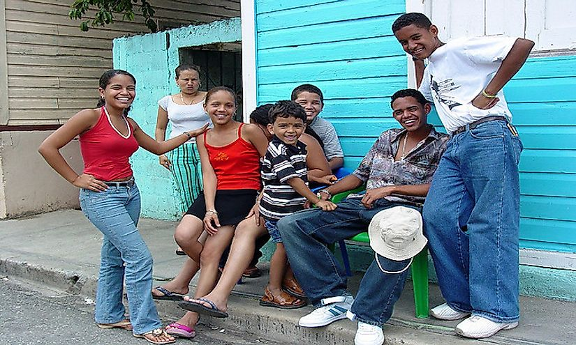 Young and friendly people of the Dominican Republic on the streets of San Jose de Ocoa.