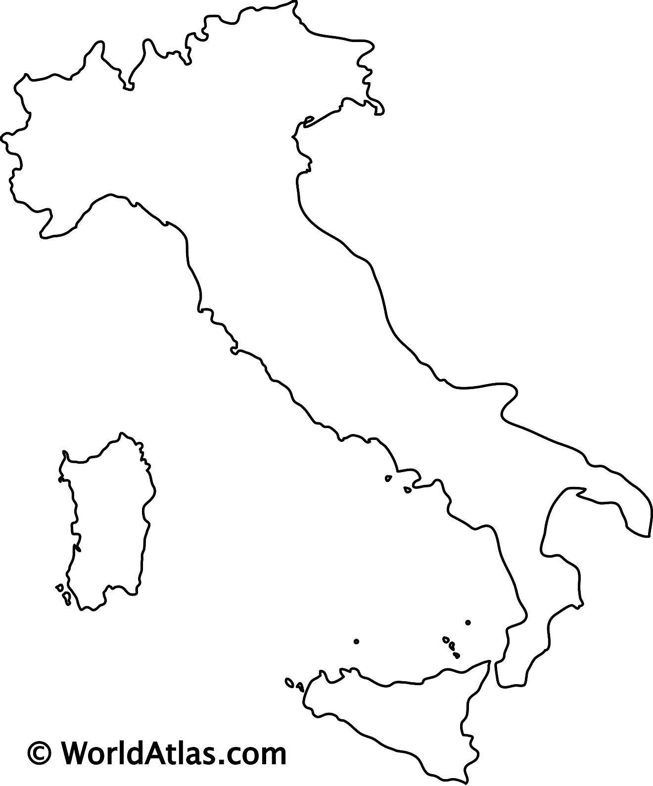 Blank outline map of Italy