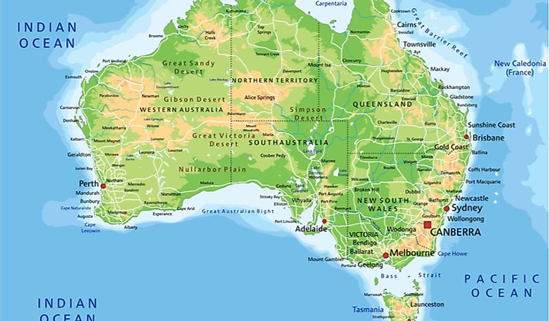 A map of Australia, the only country to be its own continent.