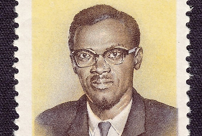 Partial view of stamp depicting Patrice Lumumba, Congo's first Prime Minister.  Editorial credit: bissig / Shutterstock.com