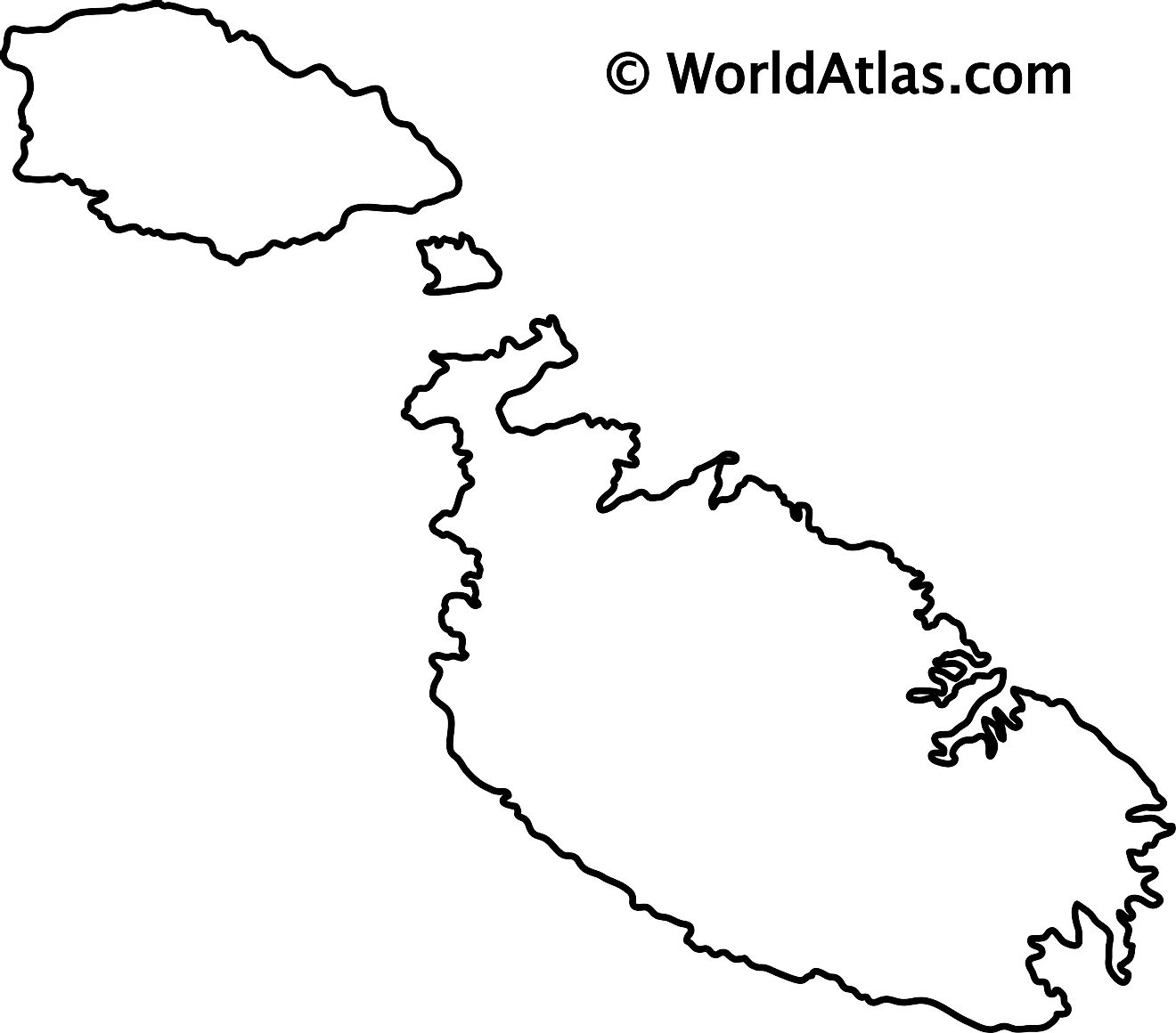 Blank Outline Map of Malta
