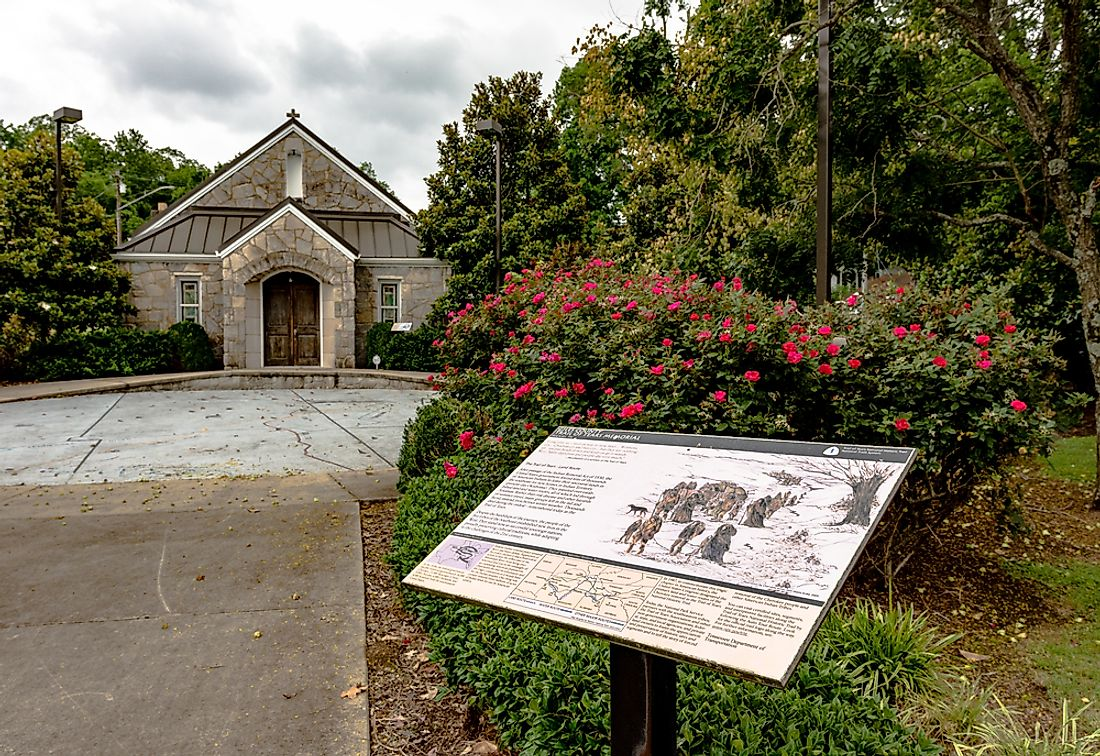 A Trail of Tears memorial plaque in Tennessee. Editorial credit: JNix / Shutterstock.com.