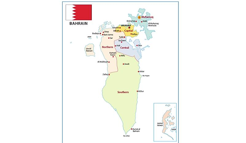 A map showing the islands of Bahrain.
