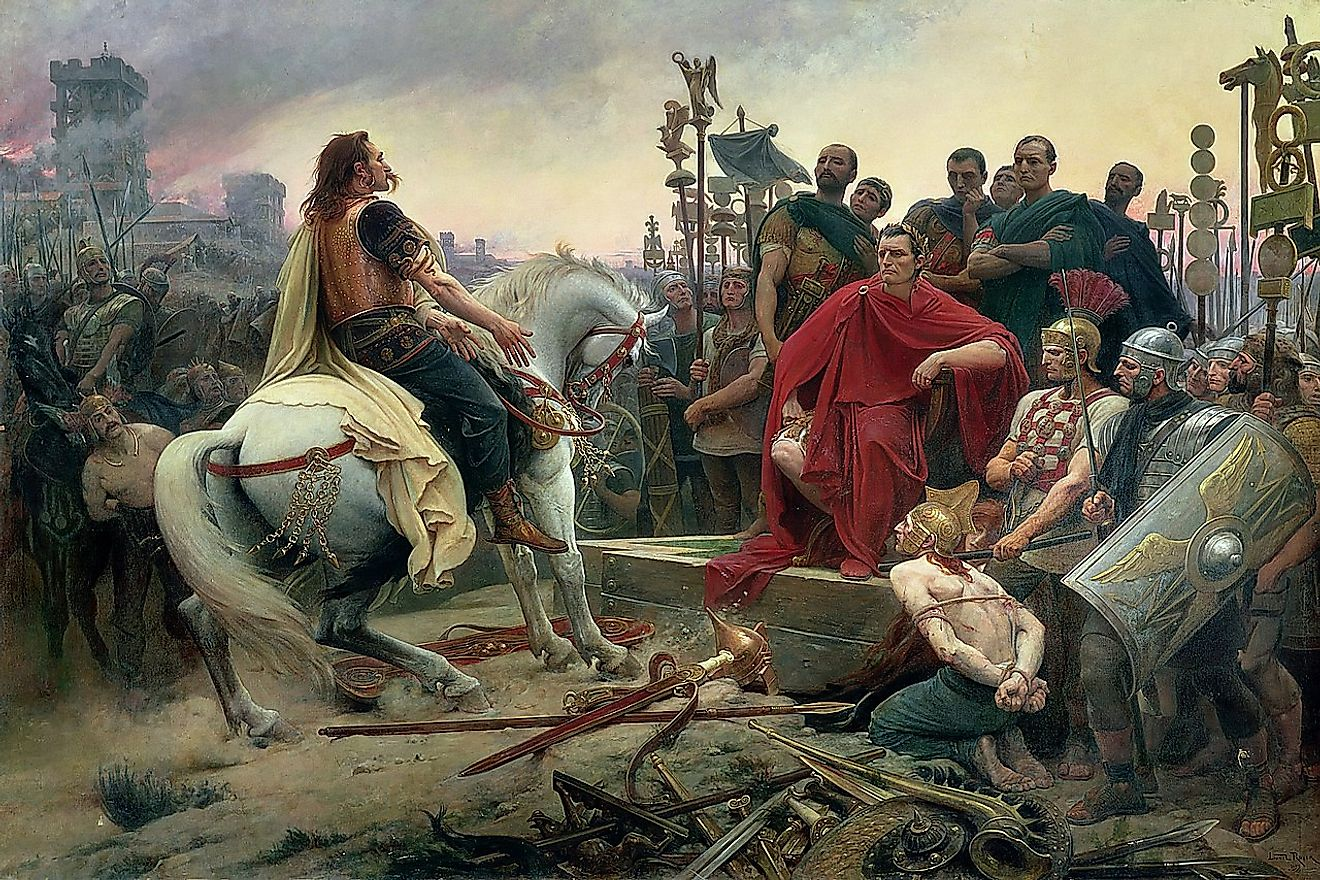 ercingetorix Throws Down His Arms at the Feet of Julius Caesar by Lionel Noel Royer, 1899.
