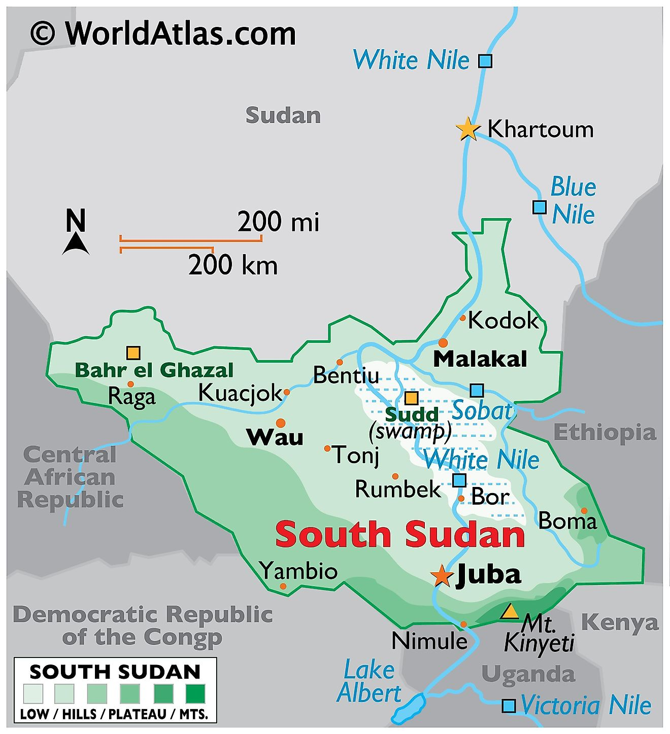 Physical Map of South Sudan with state boundaries. It exhibits South Sudan's major physical features like terrain, mountains, rivers, major and cities.