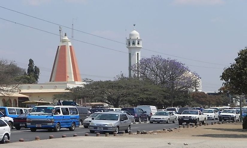 More details Hindu temple and Muslim Mosque in Lusaka Province.