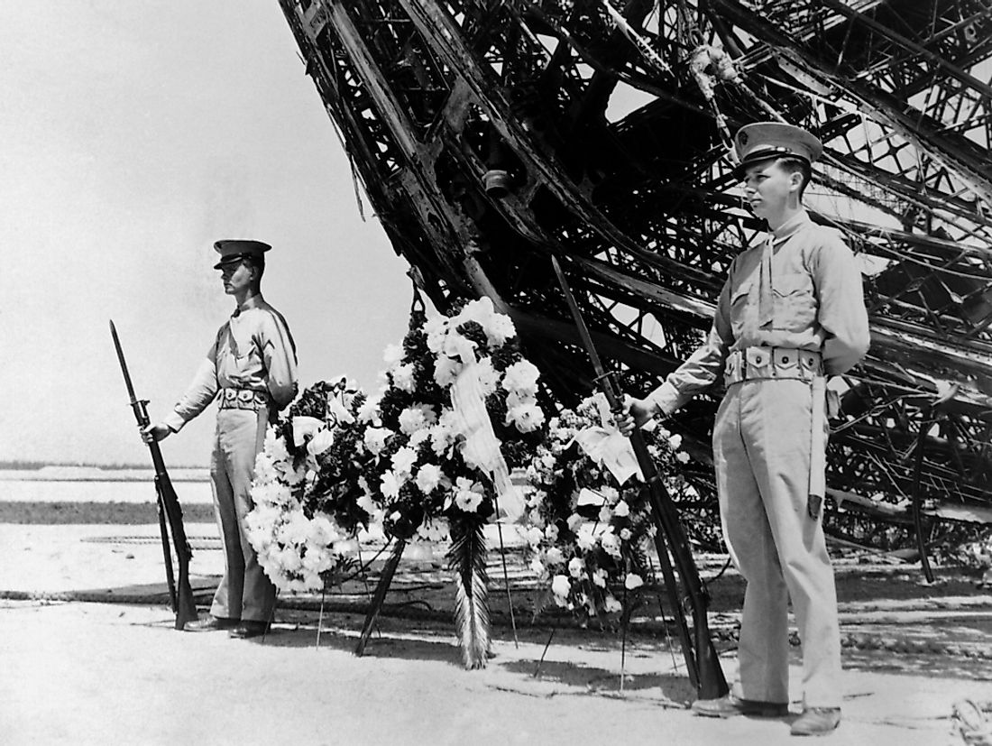 A memorial to the Hindenburg Disaster is held on May 31, 1937.