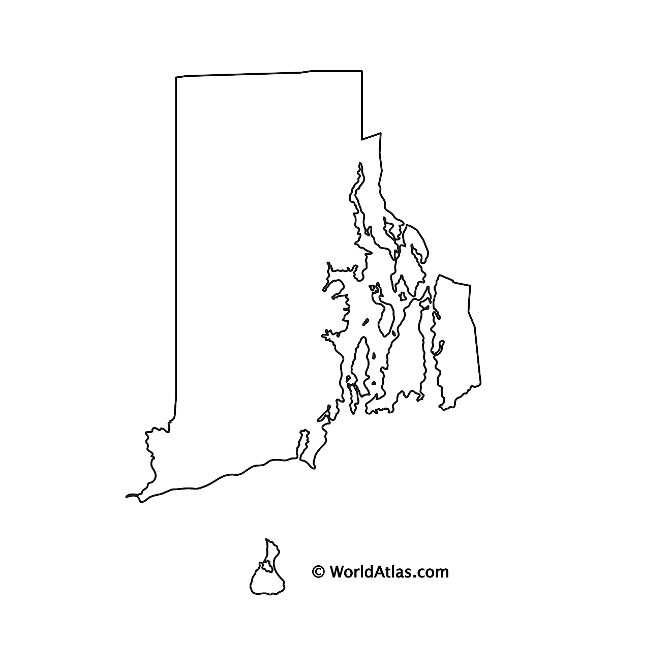 Blank Outline Map of Rhode Island