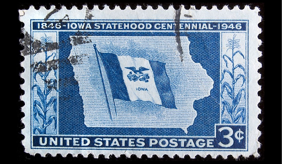 Stamp celebrating the centennial of Iowa's statehood. Editorial credit: Jeffrey B. Banke / Shutterstock.com