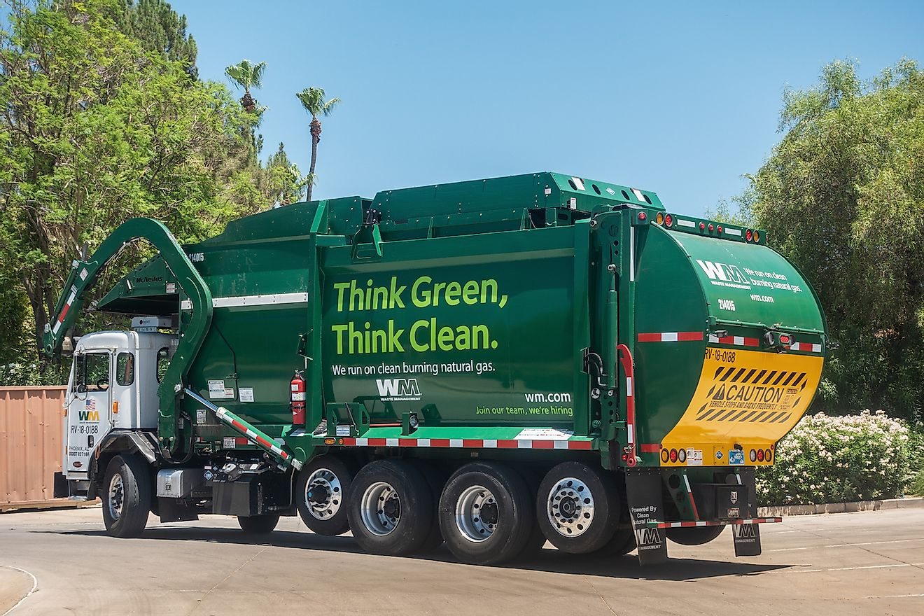 Waste Management Inc, is an American waste management, & environmental services company in North America, founded in 1968, the company is headquartered in Houston, Texas. Image credit: BCFC/Shutterstock.com