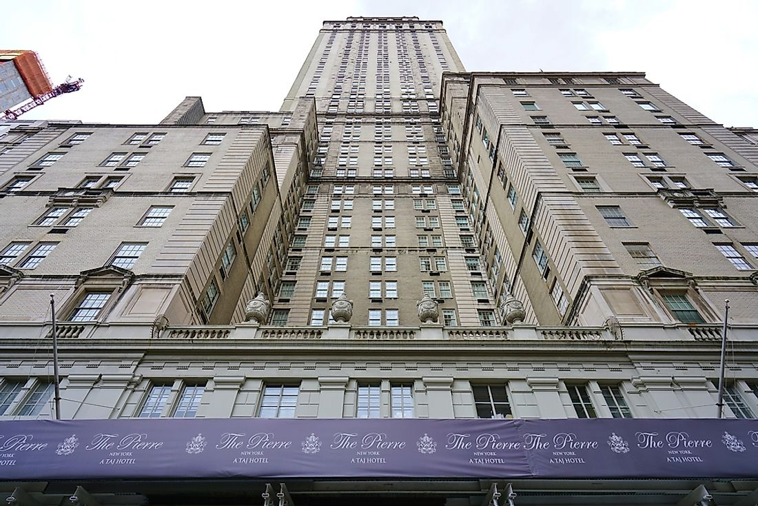 The Pierre Hotel in New York City. The Pierre Hotel was the sight of one of the largest successful robberies in history. Editorial credit: Editorial credit: EQRoy / Shutterstock.com.