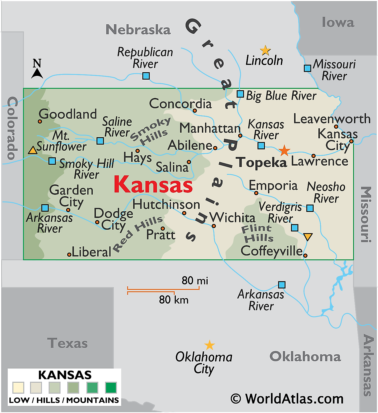 Physical Map of Kansas. It shows the physical features of Kansas including its mountain ranges and rivers.