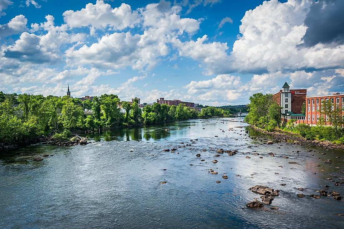The Merrimack River in Manchester, New Hampshire. New Hampshire ranks as the safest state in the United States.